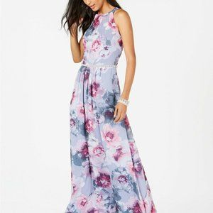SLNY NEW Floral & Metallic Maxi Dress